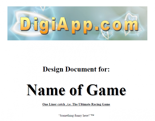 Game Design Document Template