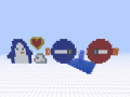 Pixel art characters made in Minecraft world