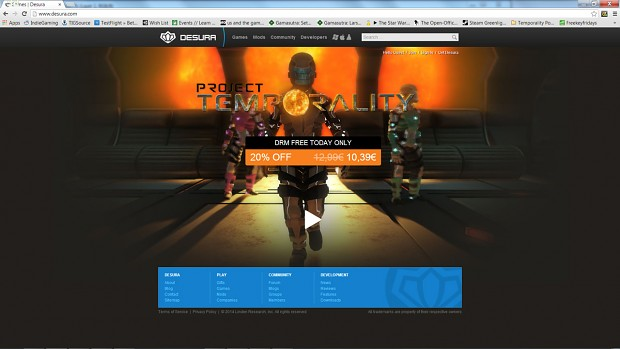 Project Temporality is Released, With Desura full front page takeover in effect