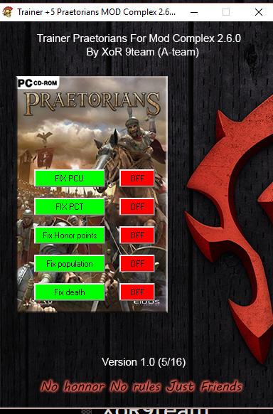 Praetorians trainer for MOD complex 2.6.0