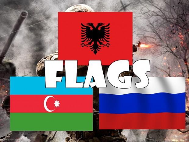 Flags Azerbaijan, Arnavut, Russia