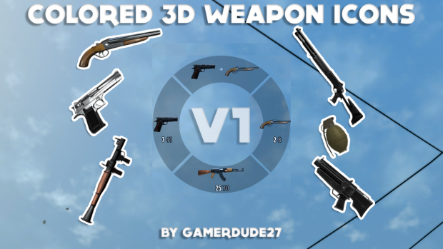 Colored 3D Weapon Icons