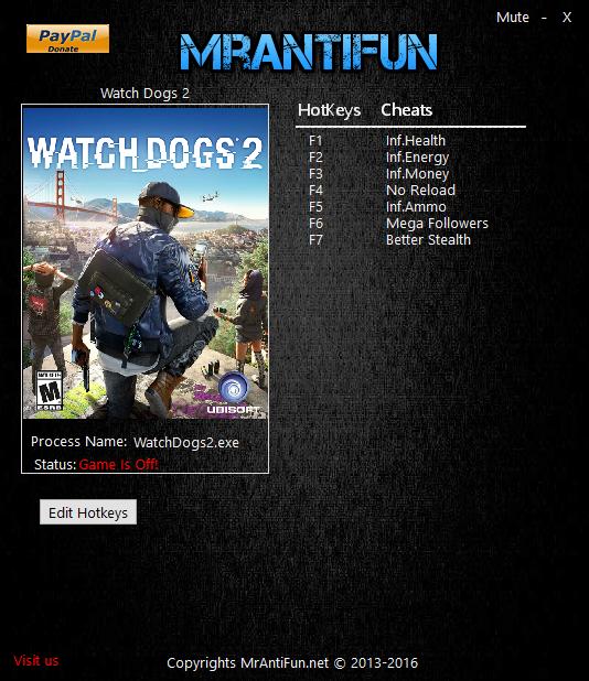 Watch Dogs 2 V1.6.135 Trainer +7 MrAntiFun