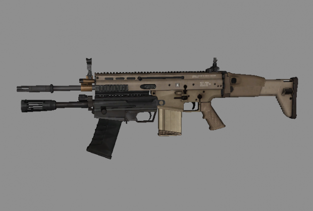 Battlefield 4 SCAR-H with M26,ironsight&coyote;