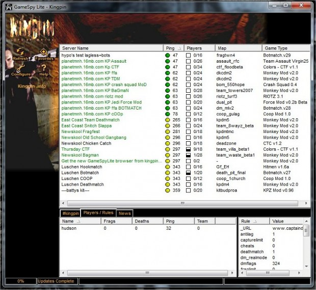 Gamespylite Kingpin Server Browser