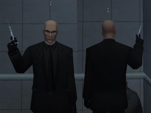 Agent 47/Black suit/No barcode/Gloves on disguise