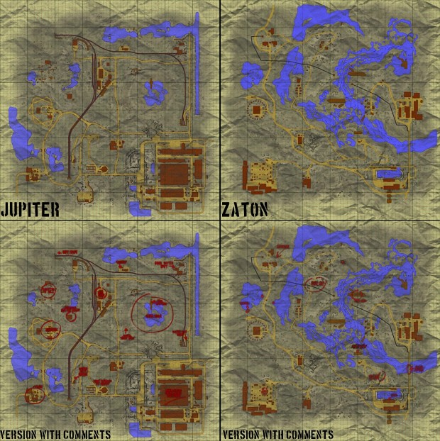 Paper maps for Zaton and Jupiter