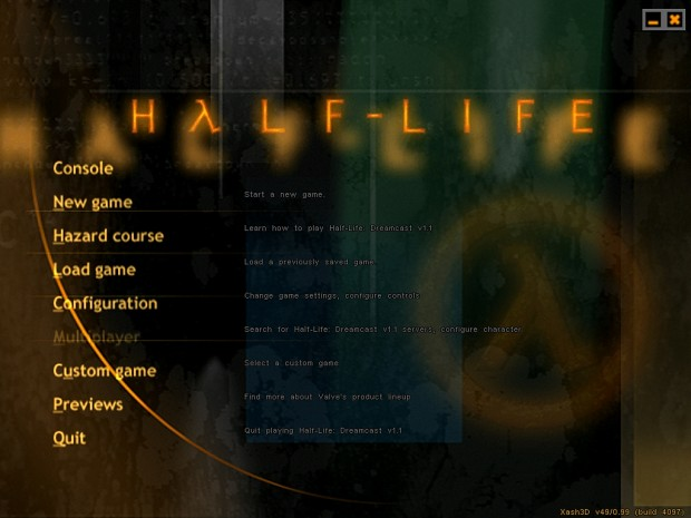 [Xash3D] Half-Life: Dreamcast Menu Port... sort of