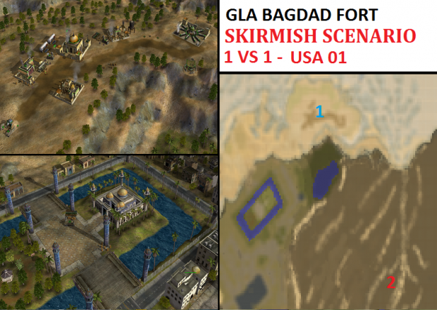 "GLA Bagdad Fort Skirmish - ""Mission USA01"" - 1vs1"