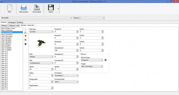 Wing Commander Mision Editor 1.1