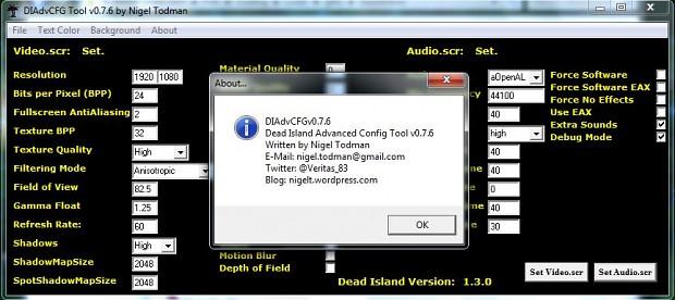 DIAdvCFG - Dead Island Advanced Config Tool v0.7.7
