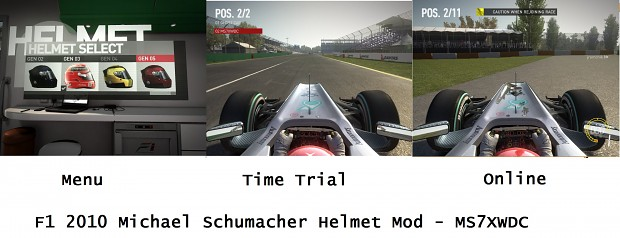 F1 2010 Michael Schumacher Helmet Mod - all game modes - MS7XWDC