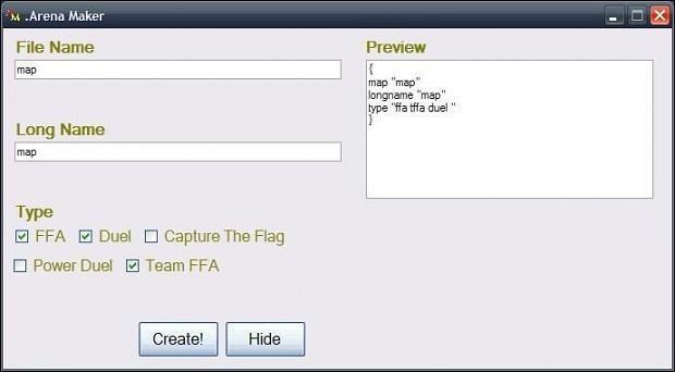 Arena File Maker 1.0.0