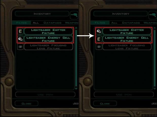 Lightsaber Parts Icon Fix