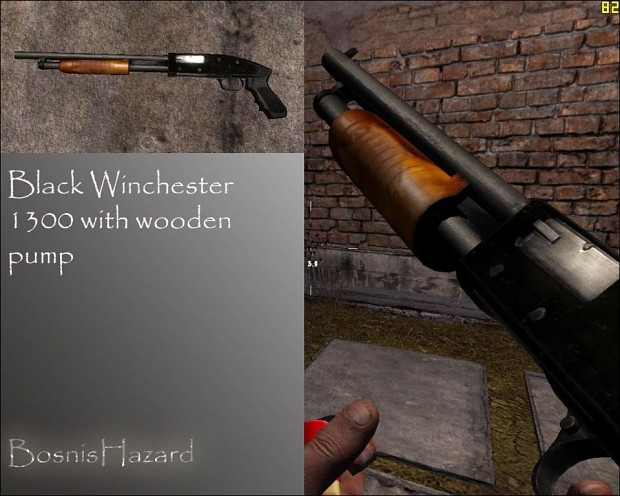 Black Winchester 1300 with Wooden Pump 1.0
