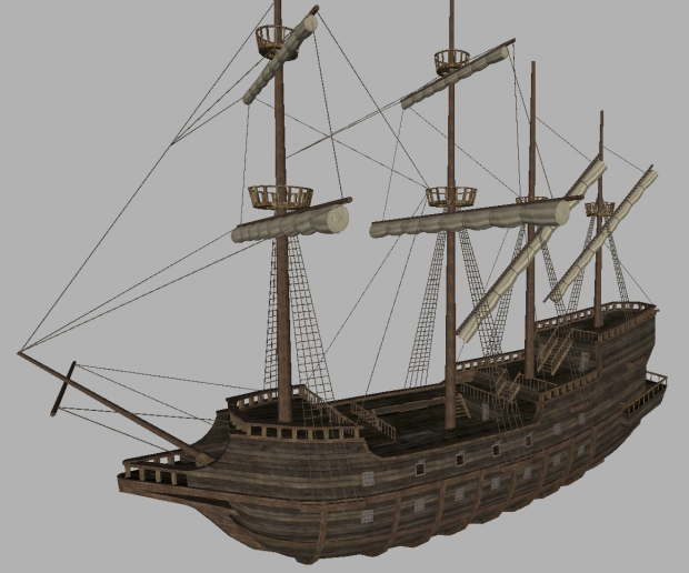 Galleon ship prop and static sea-battle scenes, for Warband