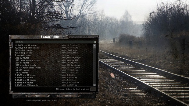 spawn menu for misery mod