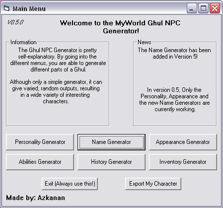 NPC Generator V0.5.0