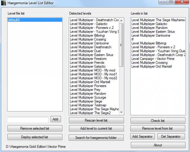 Haegemonia Level List Editor Source