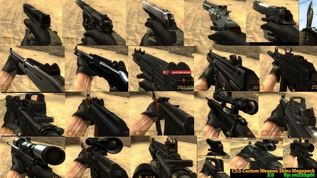 CS:S Custom Weapon Skins Mega Pack 3.0