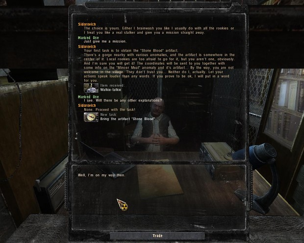 Centered talk panel for COP-inspired inventory