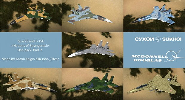 Su-27S and F-15C Nations of Strangereal skin pack
