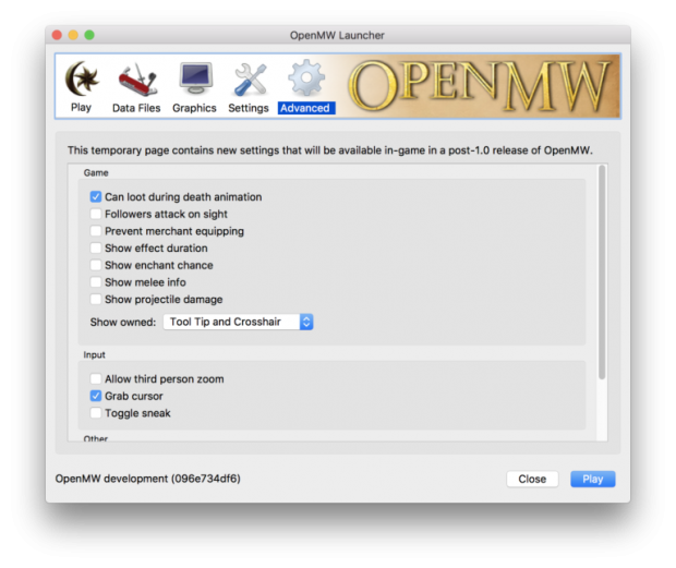 Advanced preferences in the launcher