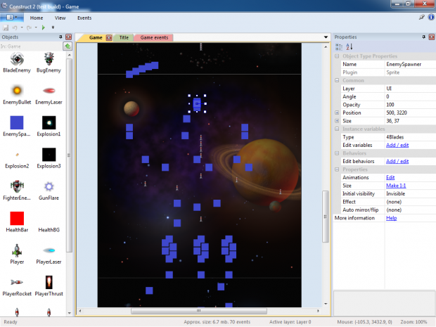 Space Blaster game being designed