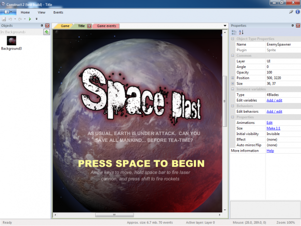 Space Blaster - editing the title screen