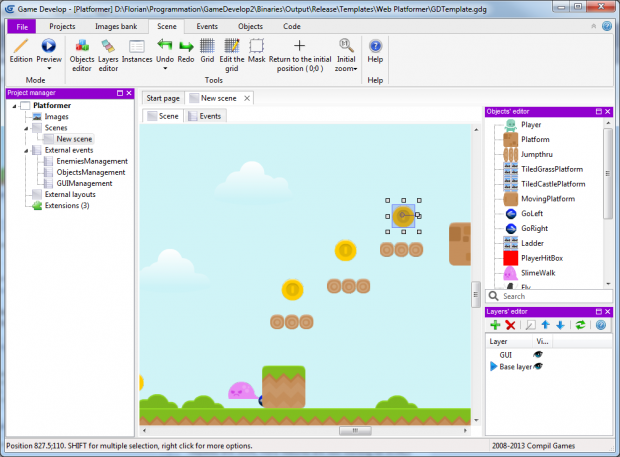 Game Develop being used with the new Metro theme