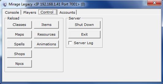 Server - Control Tab