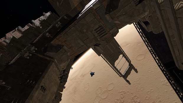 Station Orbiting a Dusty World