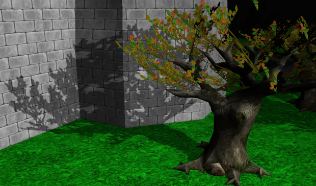 Shadow maps on a tree with alpha-test leaves