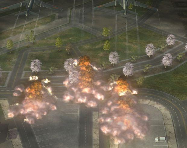 Xian H-6 carpet bombing run and explosions