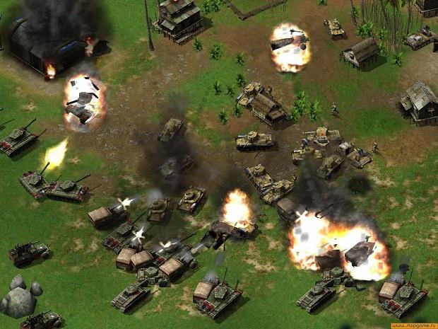 US forces destroying japanese base.