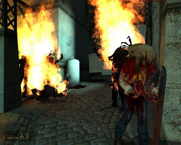 Zombies burn in Ravenholm