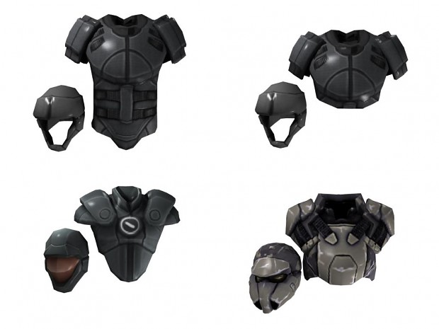 Our new armours for the equipment screen