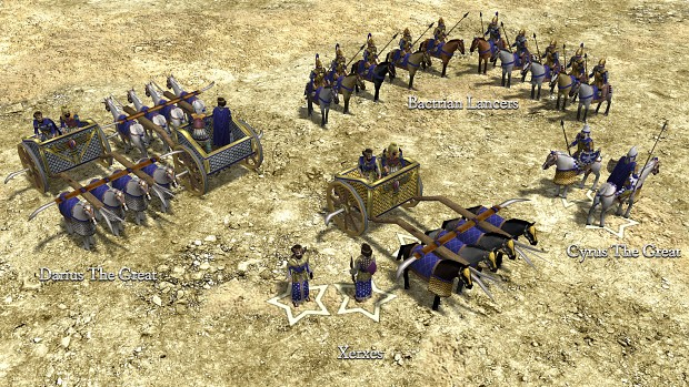 Cyrus, Xerxes, Darius, and Bactrian Lancers.