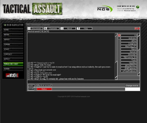 IRC Web Chat news - Critical Point: Incursion - Indie DB