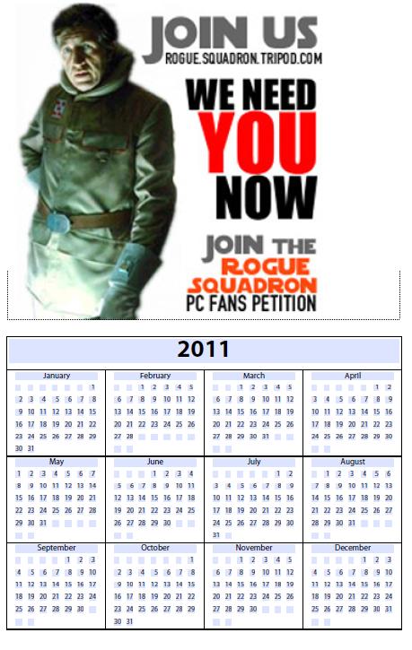 2011 Rogue Squadrons PC Fans Petition Calendar