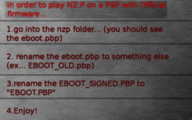 How to play NZ:P on a PSP with Official firmware!