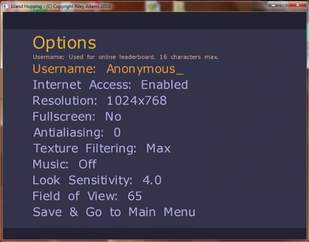 Version 1.2 Options Menu