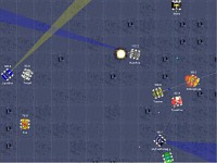 Screenshot of battle view with robots fighting