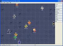 Window of Robocode running a battle
