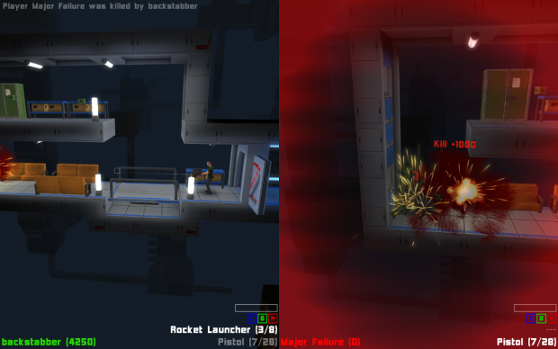 Rocket kill on split-screen multiiplayer deathmatch