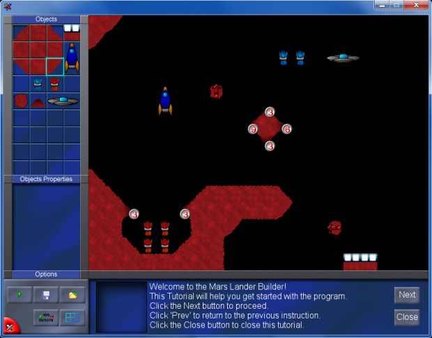 Mars Lander features a built-in tutorials system to limit the external help kid need to make levels.