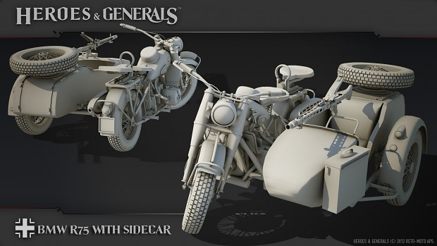 The German BMW R75 motorcycle with sidecar