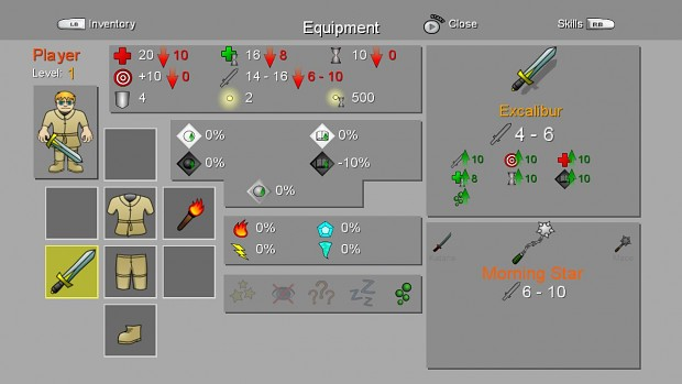 Dungeons of Desolations - Stats and Equip Screen
