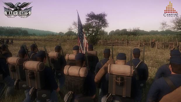 Union regiment advancing at the Sunken Road!