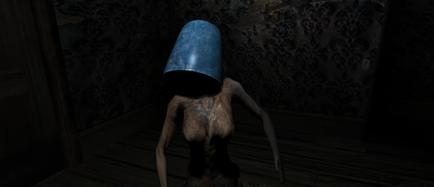 Woman blue bucket head